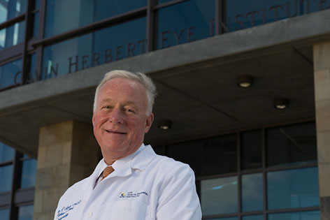 Gavin Herbert Eye Institute Director Roger M. Steinert, MD, outside the eye institute entrance at its opening in 2013.